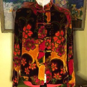 Chico's Design Velvet Floral Mandarin Blouse